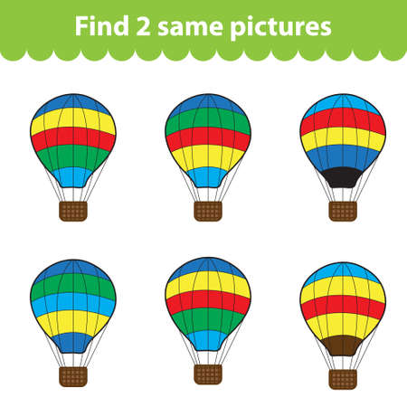 Childrens educational game. Find two same pictures. Set of air balloon for the game find two same pictures. Vector illustration.