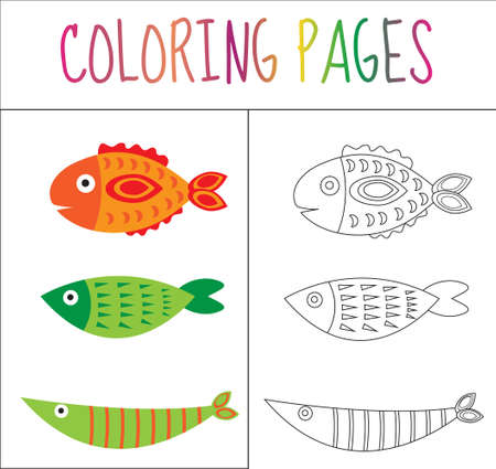 Colorear Página Del Libro. Conjunto De Peces. Croquis Y Versión En ...