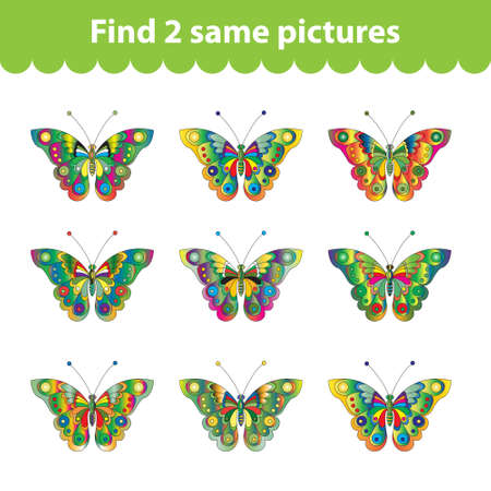 find: Childrens educational game. Find two same pictures. Set of butterflies for the game find two same pictures. Vector illustration.