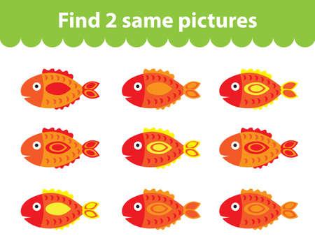 Childrens educational game. Find two same pictures. Set of fish for the game find two same pictures. Vector illustration.