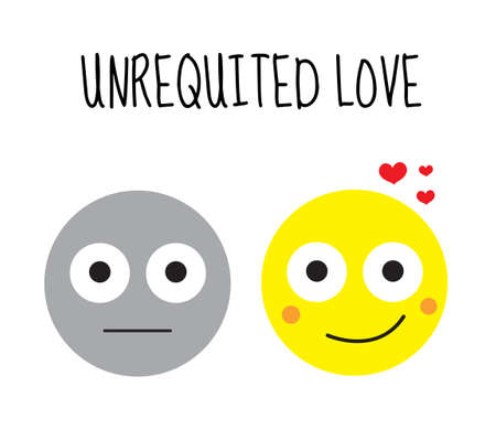 unrequited: Unhappy love, unrequited love. Smilies vector illustration