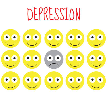 miserable: Smiley vector, depression, sadness, emotions. Vector illustration