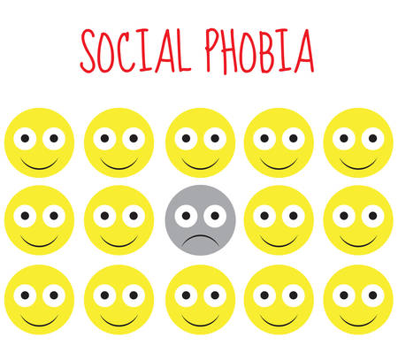 paranoid: social phobia smiley vector, fear and depression. Vector illustration