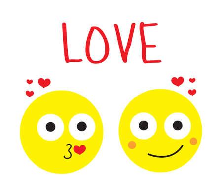 loving couple: Smile love, loving couple round smiles. Vector illustration Illustration