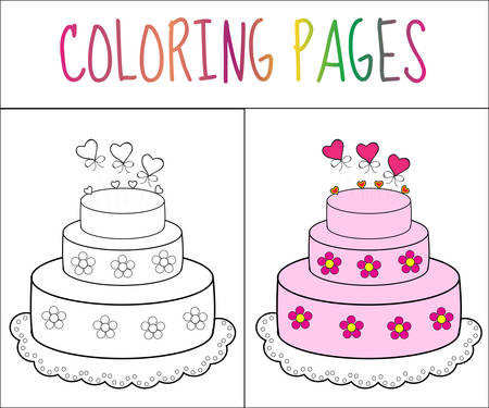 color page: Coloring book page cake. Sketch and color version. Coloring for kids. Vector illustration