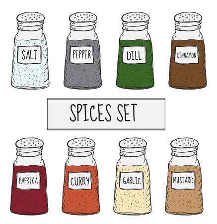 缶にスパイスは、スケッチを設定します。調味料のコレクションです。手描き、落書きスタイル。ベクトル図