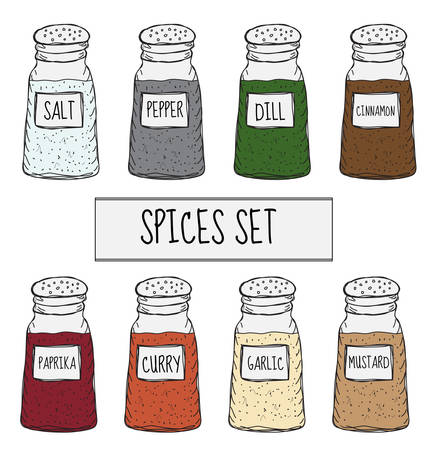 Spices in cans set sketch. Seasoning collection. Hand drawing, doodle style. Vector illustration Ilustração