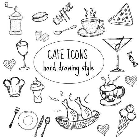 Cafe Food iconen, met de hand tekenen, doodle stijl. vector illustratie