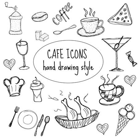 Cafe food icons, hand drawing, doodle style. Vector illustration