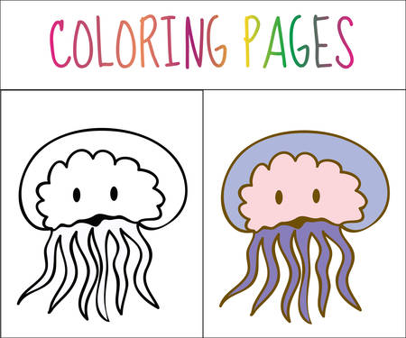 medusa: Coloring book page, Medusa. Sketch and color version. Coloring for kids. Vector illustration