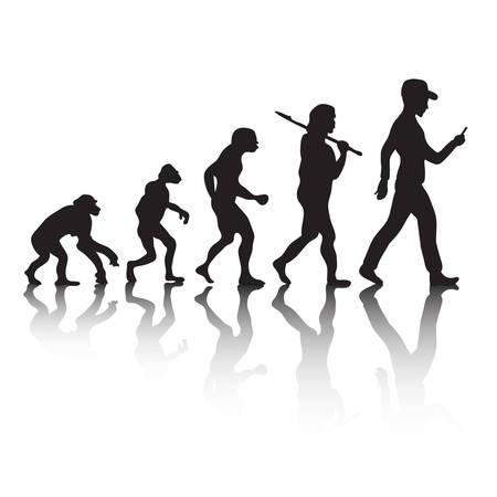 La evolución humana, la teoría de Darwin. Ilustración de vector