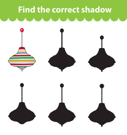 perinola: Childrens educational game, find correct shadow silhouette. Toy whirligig, set the game to find the right shade. Vector illustration Vectores