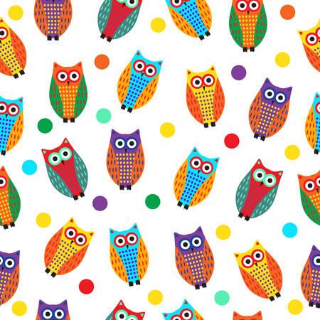 owl illustration: Cartoon owl seamless texture, cute owl background, owl childrens wallpaper. Vector illustration