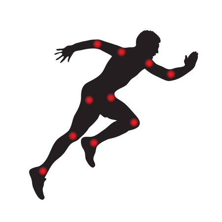 Silhouette of a man in running, joints pain. Vector illustration