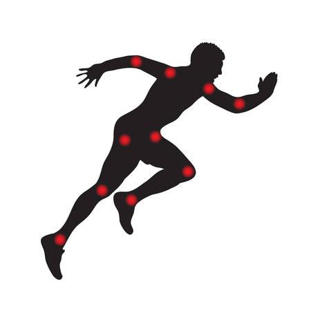 Sylwetka człowieka w biegu, ból stawów. Ilustracji wektorowych