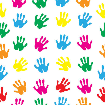 peace stamp: Childrens hands, hand prints seamless texture. Childrens palms background wallpaper. Vector illustration