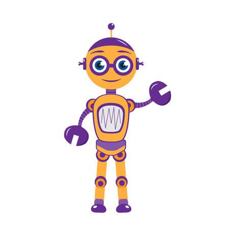 Cartoon robot mascotte, personnage de robot.