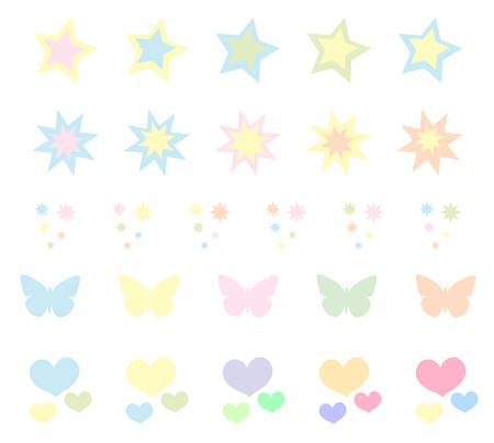 stiker: Set of cute pastel stickers, brushes. Heart star. Vector illustration