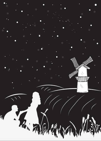 Bookcover a couple nights on the field to the mill, the starry sky. Couple romantic silhouette. Vector illustration