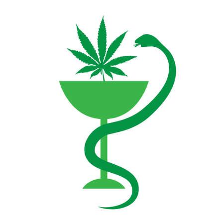 의료 마리화나 아이콘입니다. 의료 대마초. 벡터 일러스트 레이 션 일러스트
