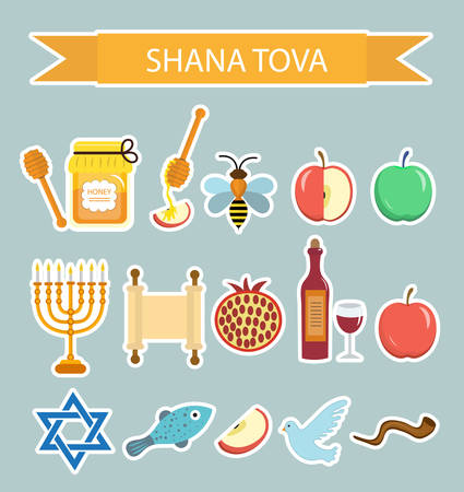 bee party: Set icons stickers on the Jewish New Year, Rosh Hashanah, Shana Tova. Cartoon icons stickers flat style. Traditional symbols of Jewish culture. Vector illustration.