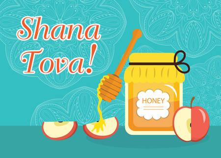 year greetings: Greeting card for the Jewish New Year Rosh Hashanah, Shana Tova. Rosh Hashanah greeting card. Greeting card with the inscription Shana Tova. Honey and apples. Vector illustration Illustration