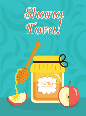 Greeting card for the Jewish New Year Rosh Hashanah, Shana Tova. Rosh Hashanah greeting card. Greeting card with the inscription Shana Tova. Honey and apples. Vector illustration Illustration