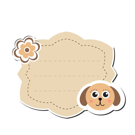 Cute sticker label, frame for text. Kids tag for text. Scribbled notebook page .Vektor illustration