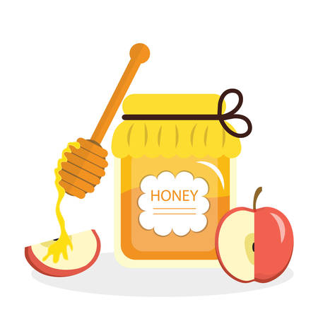 rosh: Honey and apples greeting card for the Jewish New Year Rosh Hashanah. Vector illustration