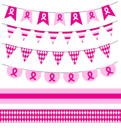 cancer ribbons: Pink ribbon. Breast cancer awareness symbol, isolated on white background. Breast Cancer set garlands, ribbons