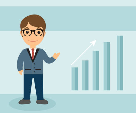 scale up: Businessman character flat style. Businessman with the scale of growth. Businessman Up Arrow. Vector illustration