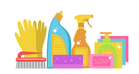 Cleaning supplies, cleaning tools set. Household chemicals. Vector illustration