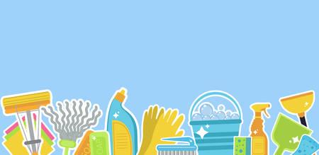 Zestaw ikon dla narzędzi do czyszczenia. Szablon do tekstu. Personel sprzątający dom. Styl płaski. Elementy do czyszczenia. Ilustracji wektorowych