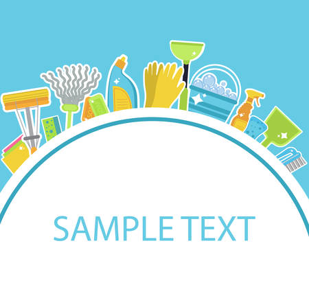 Set of icons for cleaning tools.Template for text. House cleaning staff. Flat design style. Cleaning design elements. Vector illustration Vettoriali