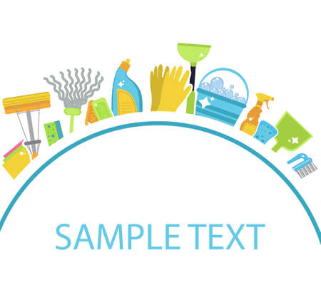 Set van pictogrammen voor het reinigen van tools. Sjabloon voor tekst. Schoonmaakpersoneel van het huis. Platte ontwerpstijl. Ontwerpelementen schoonmaken. Vector illustratie