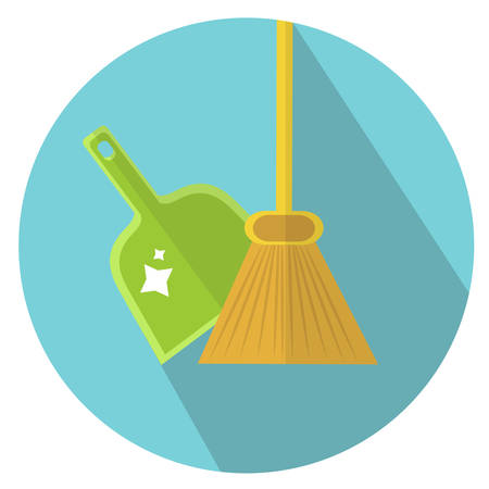 Scoop and broom icon flat style. Cleaning icon. Vector illustration