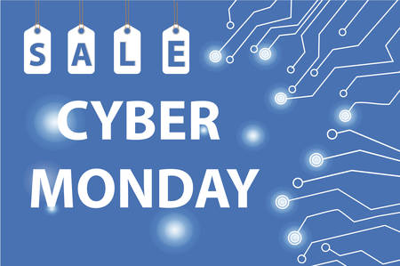 Cyber Monday sales, Cyber Monday Super offer discounts. Cyber Monday poster, banner. Vector illustration Illustration