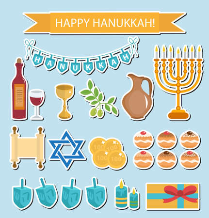 chanukkah: Hanukkah sticker pack. Hanukkah Icons with Menorah, Torah, Sufganiyot, Olives and Dreidel. Happy Hanukkah Festival of Lights, Feast of Dedication flat icons, stickers. Vector illustration