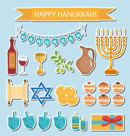 Hanukkah sticker pack. Hanukkah Icons with Menorah, Torah, Sufganiyot, Olives and Dreidel. Happy Hanukkah Festival of Lights, Feast of Dedication flat icons, stickers. Vector illustration