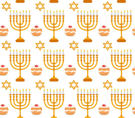 Hanukkah seamless pattern. Hanukkah background with Menorah, Sufganiyot, star of David. Happy Hanukkah Festival of Lights, Feast of Dedication seamless texture. Vector illustration