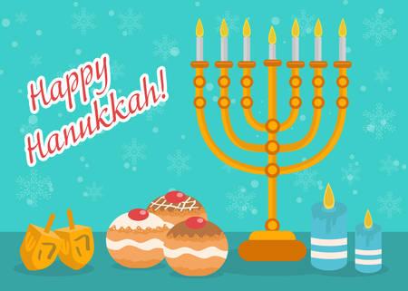 festival of lights: Happy Hanukkah greeting card, invitation, poster. Hanukkah Jewish Festival of Lights, Feast of Dedication. Hanukkah Greeting Card with Menorah, Sufganiyot, Dreidel. Vector illustration