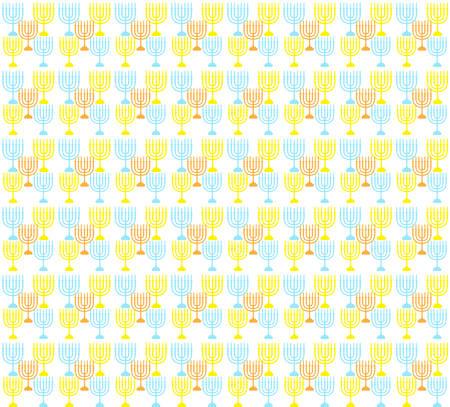 Hanukkah seamless pattern. Hanukkah background with Menorah. Happy Hanukkah Festival of Lights, Feast of Dedication seamless texture. Hanukkah seamless background. Vector illustration