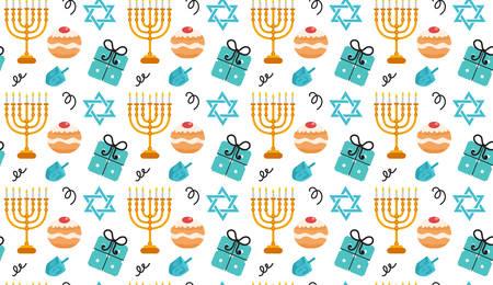 chanukkah: Hanukkah seamless pattern. Hanukkah background with Menorah, Sufganiyot, Dreidel. Happy Hanukkah Festival of Lights, Feast of Dedication seamless texture. Vector illustration Illustration
