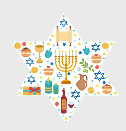 chanukkah: Set icons of Hanukkah, Happy Hanukkah. Hanukkah greeting card. Cartoon icons flat style. Traditional symbols of Jewish culture. Vector illustration.