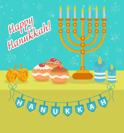 chanukkah: Happy Hanukkah greeting card, invitation, poster. Hanukkah Jewish Festival of Lights, Feast of Dedication. Hanukkah Greeting Card with Menorah, Sufganiyot, Dreidel. Vector illustration