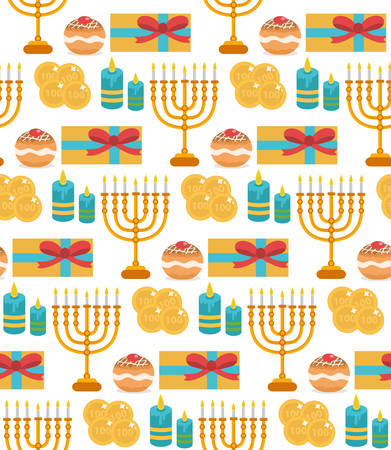 dedication: Hanukkah seamless pattern. Hanukkah background with Menorah, Sufganiyot, candles, coins, gift. Happy Hanukkah Festival of Lights, Feast of Dedication seamless texture. Vector illustration