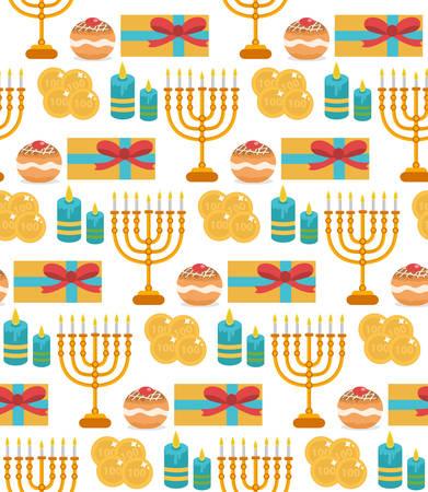 Hanukkah seamless pattern. Hanukkah background with Menorah, Sufganiyot, candles, coins, gift. Happy Hanukkah Festival of Lights, Feast of Dedication seamless texture. Vector illustration