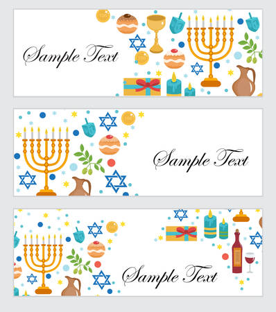 dedication: Happy Hanukkah, banners set. Hanukkah Jewish Festival of Lights, Feast of Dedication. Hanukkah set banners with space for text. Vector illustration