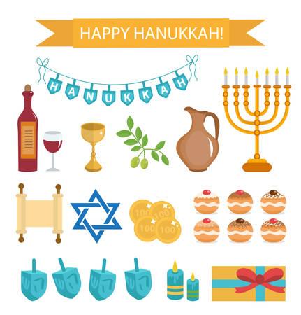 하누카 만화 아이콘의 세트입니다. Menorah, Torah, Sufganiyot, Olives 및 Dreidel와 Hanukkah 아이콘. 해피 하누카 축제 조명, 평면 아이콘, 디자인 요소. 벡터 일러