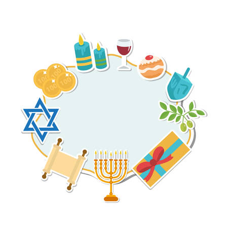 Happy Hanukkah card, template for text, frame. Hanukkah is a Jewish holiday. Greeting Card with Menorah, Sufganiyot, Dreidel. Vector illustration Illustration